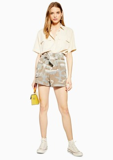 Topshop Camouflage Paperbag Shorts
