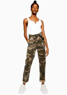 Topshop Camouflage Paperbag Trousers