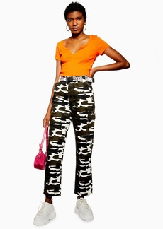 Topshop Camouflage Straight Leg Cargo Trousers