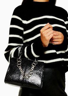 Topshop Case Black Crocodile Mini Cross Body Bag