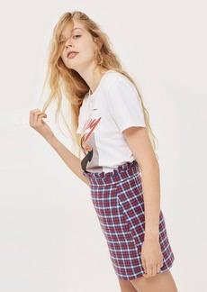Check Frill Waist Mini Skirt
