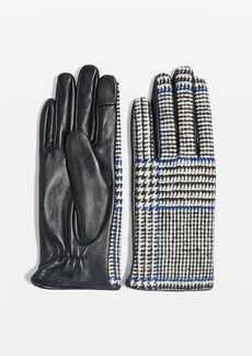 Topshop Check Leather Touchscreen Gloves
