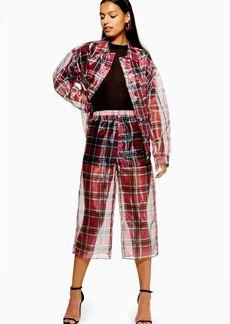 Topshop Check Organza Wide Leg Trousers