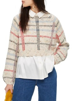 Topshop Check Pattern Sweater (Regular & Petite)