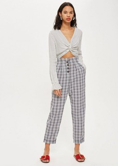 Topshop Checked Button Peg Trousers