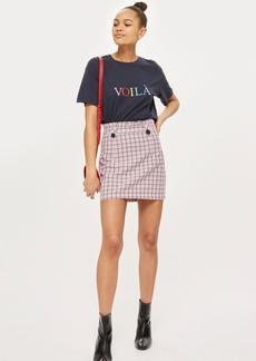 Topshop Checked Frill Waist Mini Skirt