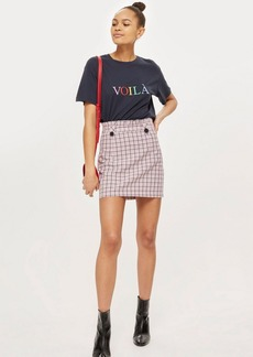 Topshop Checked Frill Waist Mini Skirt