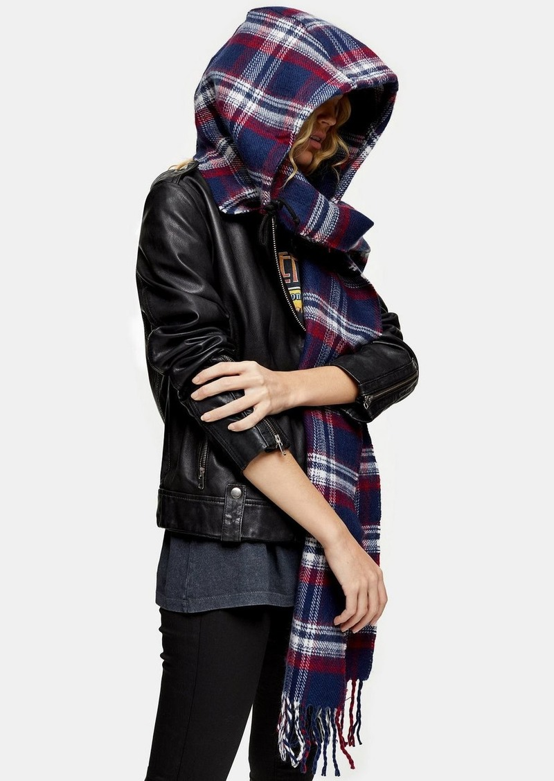 Topshop Checked Hooded Navy Scarf