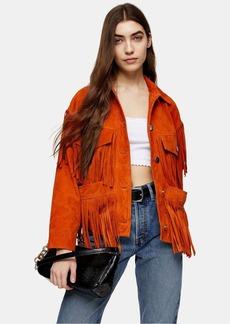 Topshop Orange Fringe Leather Jacket