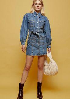 Clothing /Dresses /Denim Puff Sleeve Mini Shirt Dress