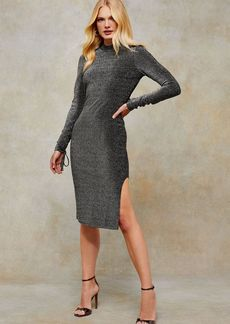 Topshop Clothing /Dresses /Silver Glitter Ruched Midi Dress