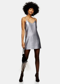 Clothing /Dresses /Silver Lame Mini Slip Dress