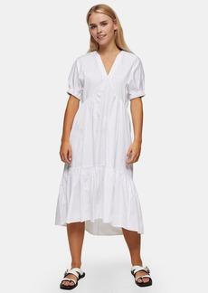 Clothing /Dresses /Petite White Cotton Poplin Bow Chuck On Midi Dress