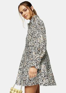 Topshop Clothing /Dresses /Petite Natural Print Ruched Jersey Shirt Dress