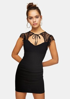 Topshop Clothing /Dresses /Petite Black Lace Stretch Tie Mini Dress