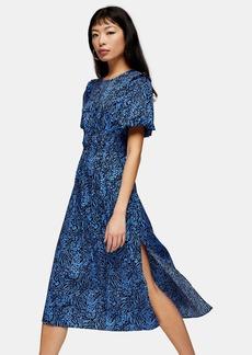 Clothing /Dresses /Petite Blue Zebra Print Bubble Sleeve Midi Dress