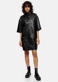 Clothing /Dresses /Tall Black Pu Oversized Mini Shirt Dress