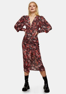 Topshop Clothing /Dresses /Ruched Front Floral Midi Dress