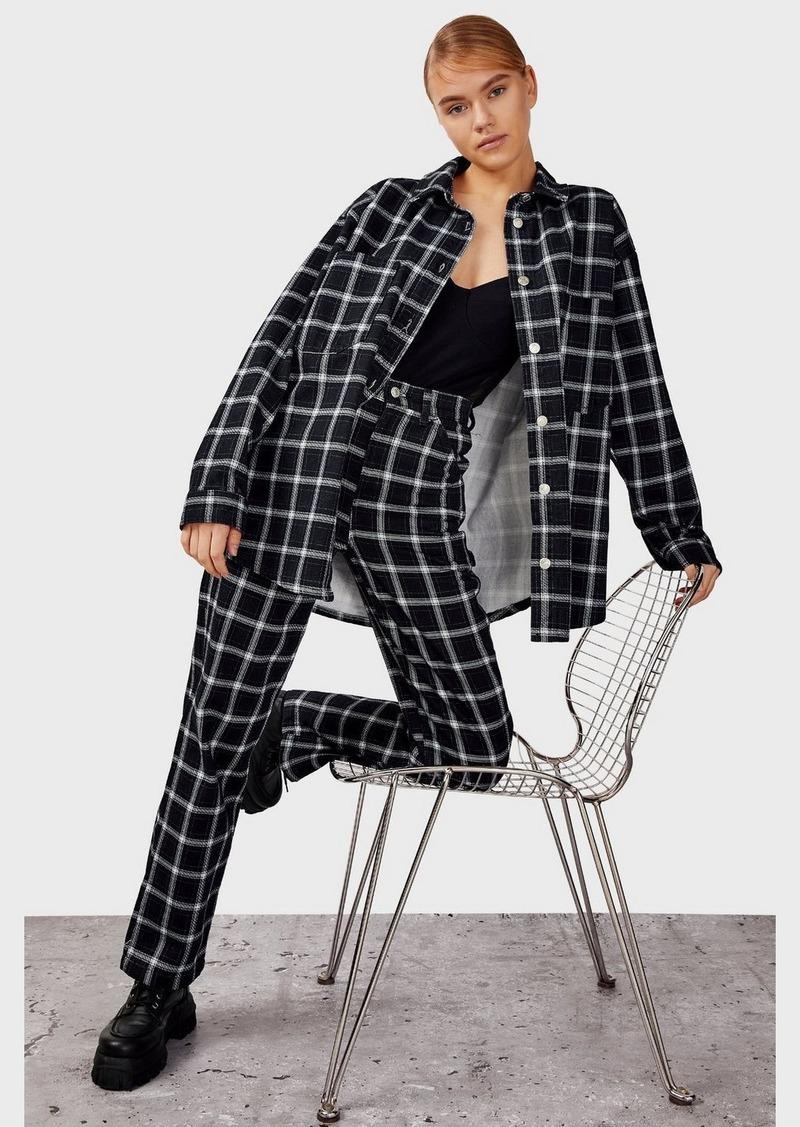 Clothing /Jackets Coats /Navy Check Denim Shacket