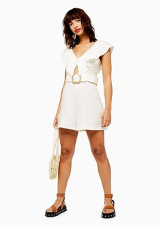Topshop Clothing /Rompers Jumpsuits /Riviera Ivory Linen Blend Frill Romper
