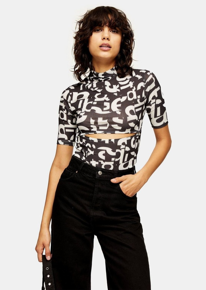 Clothing /T Shirts /Black And White Letters Mesh Top