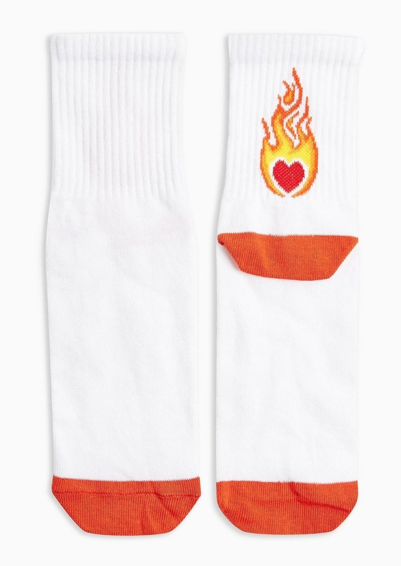 Topshop Clothing /Tights Socks /Heart Flame Tube In Red Flame