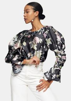 Topshop Clothing /Tops /Pink Taffeta Sleeve Drama Blouse
