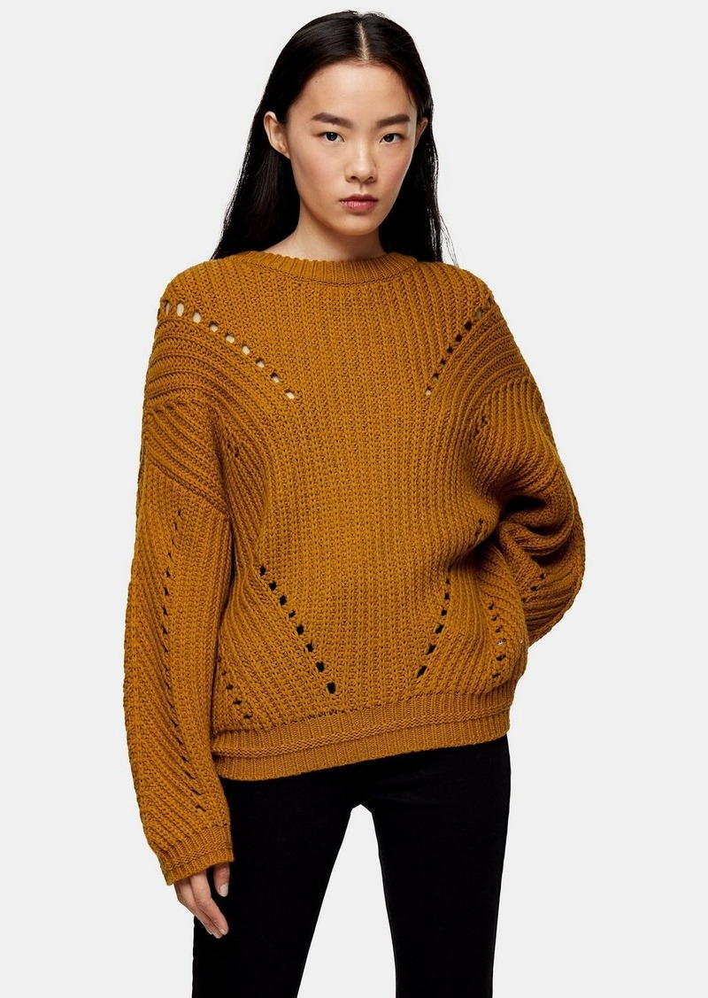 Topshop Considered Brown Knitted Sweater With Recycled Polyester