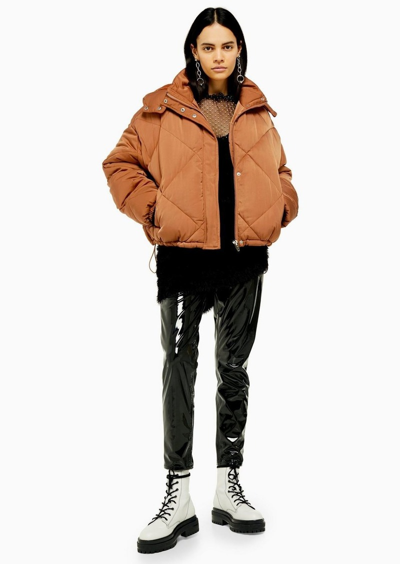 Topshop Considered Brown Quilted Puffer Jacket With Recycled Wadding