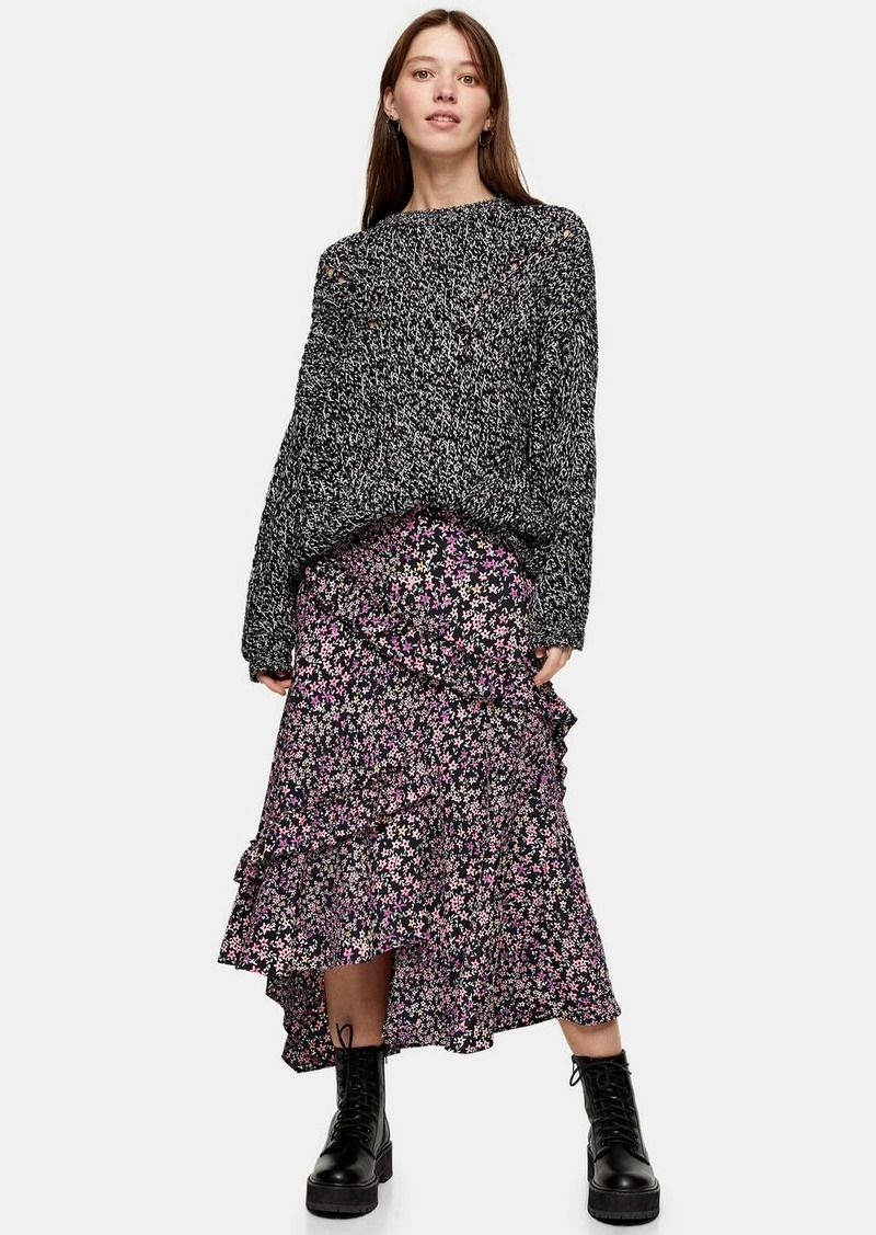 Topshop Considered Floral Meadow Ruffle Recycled Polyester Midi Skirt