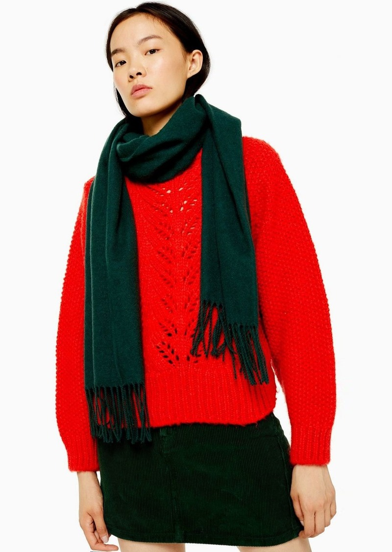 Topshop Considered Forest Green Super Soft Scarf With Recycled Polyester