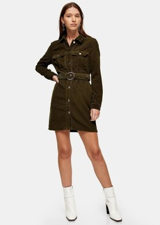 Topshop Considered Khaki Long Sleeve Corduroy Belted Dress With Recycled Cotton