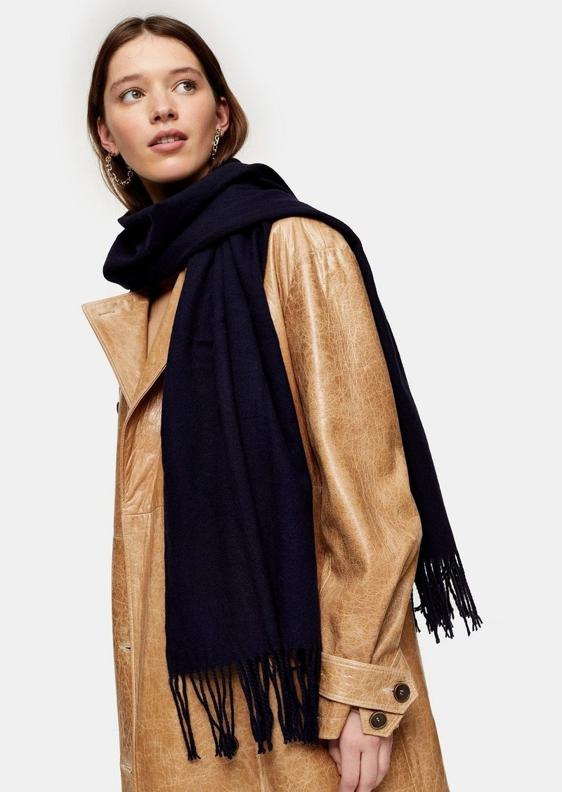 Topshop Considered Navy Super Soft Scarf With Recycled Polyester