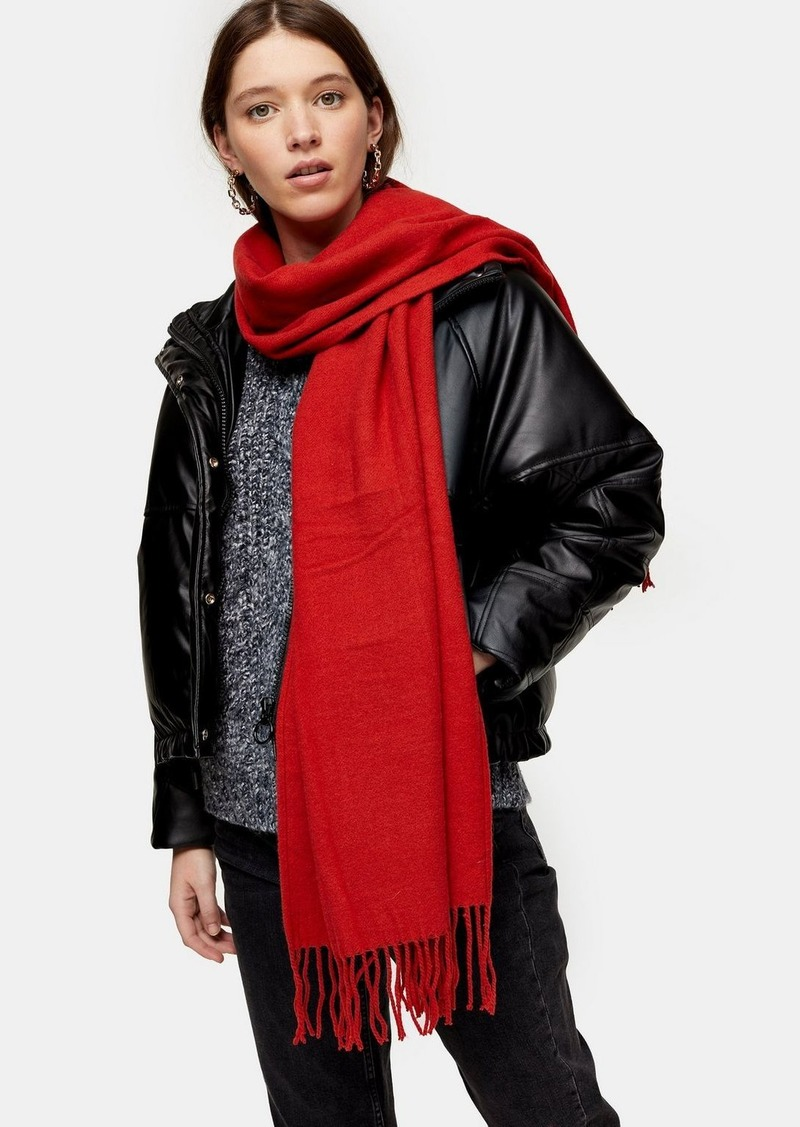 Topshop Considered Red Super Soft Scarf With Recycled Polyester