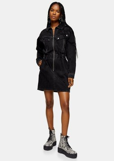 Topshop Considered Washed Black Denim Shirt Dress With Recycled Cotton