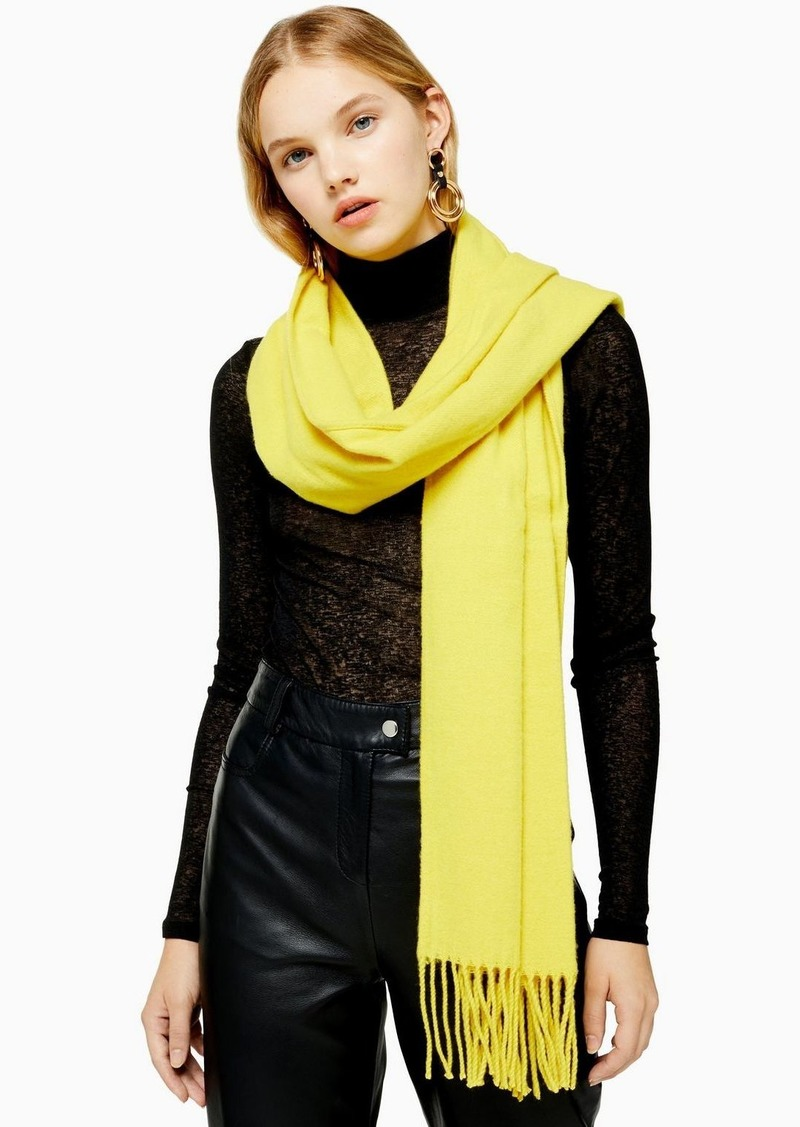 Topshop Considered Yellow Super Soft Scarf With Recycled Polyester