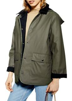 Topshop Contrast Collar Rain Mac Jacket