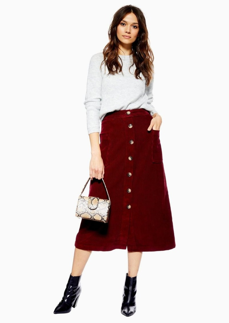 famous brand best price hot sales Topshop Corduroy Button Midi Skirt | Skirts