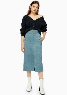 Topshop Corduroy Pencil Midi Skirt