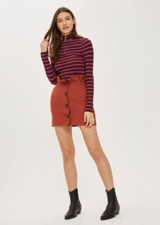 Topshop Cotton Button Through Mini Skirt