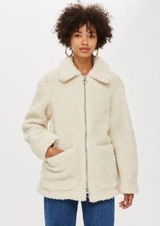 Topshop Cream Borg Zip Up Jacket
