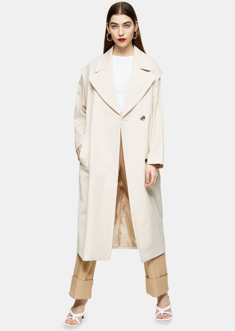Clothing /Jackets Coats /Cream Lipped Shoulder Duster Coat