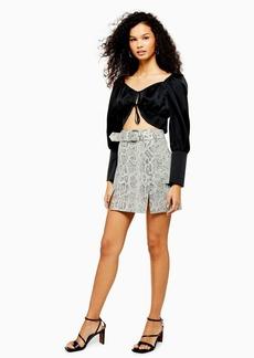Topshop Cream Snake Leather Mini Skirt