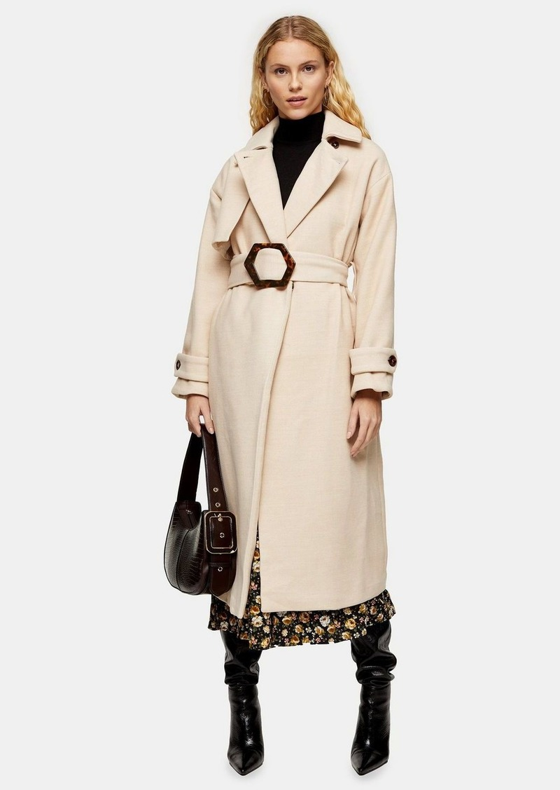 Topshop Cream Twill Belted Coat