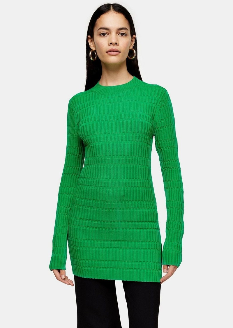 Green Crew Knit Tunic Top By Topshop Boutique