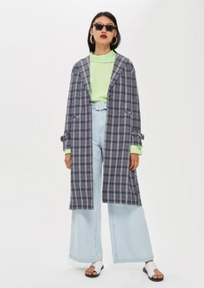 Topshop Crinkle Check Duster Coat
