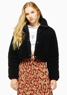 Topshop Black Cropped Borg Padded Puffer Jacket