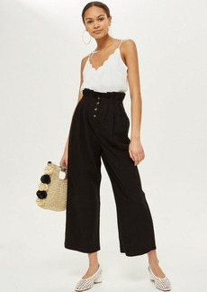Topshop Cropped Button Up Trousers
