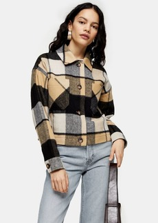 Topshop Cropped Check Jacket With Wool