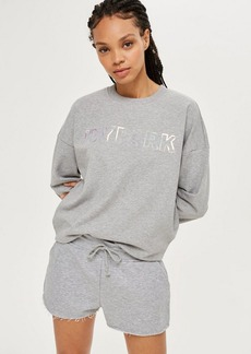 Topshop Cropped Holographic Sweatshirt By Ivy Park
